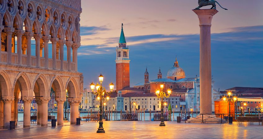 Image of St. Mark's square in Venice during sunrise.
