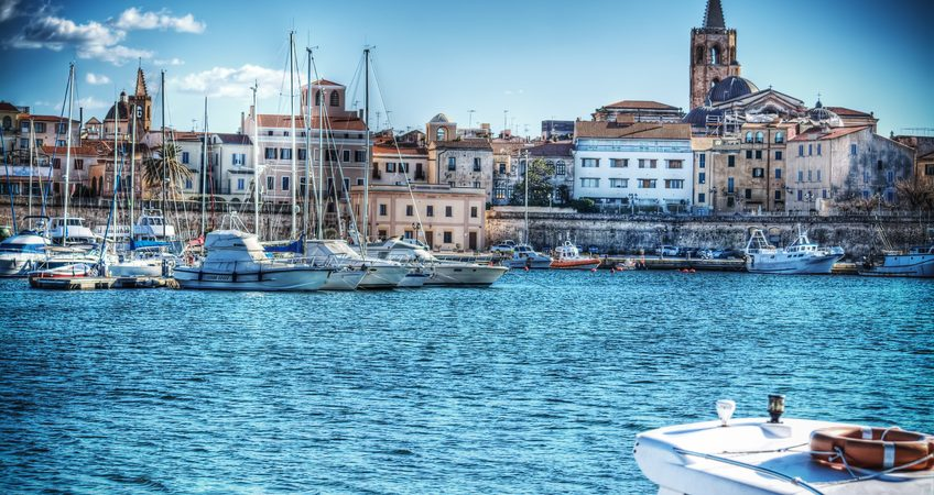 Alghero harbor on a clear spring day. Processed for hdr tone mapping effect