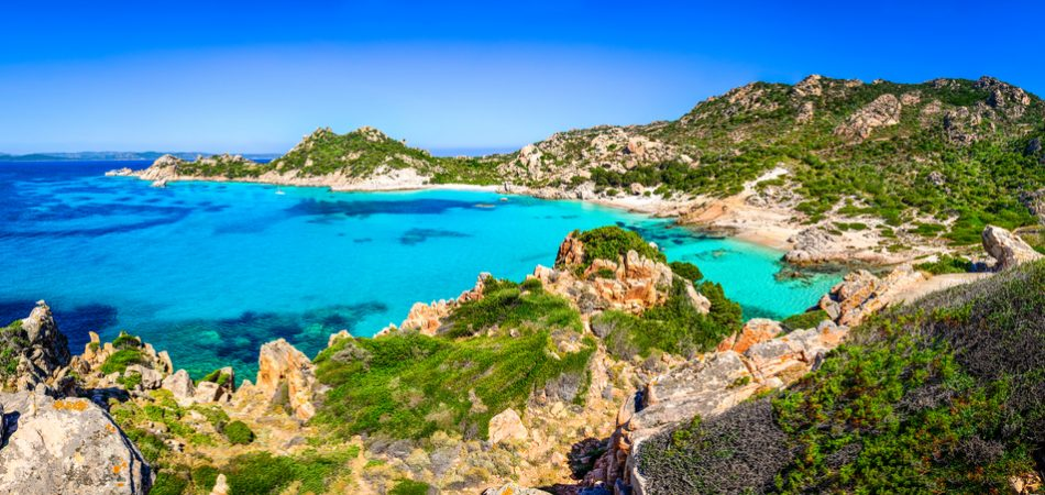 Beautiful ocean coastline beach panorama in Maddalena islands, Sardinia, Italy