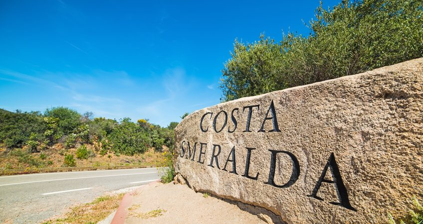 world famous Costa Smeralda sign in Sardinia, italy